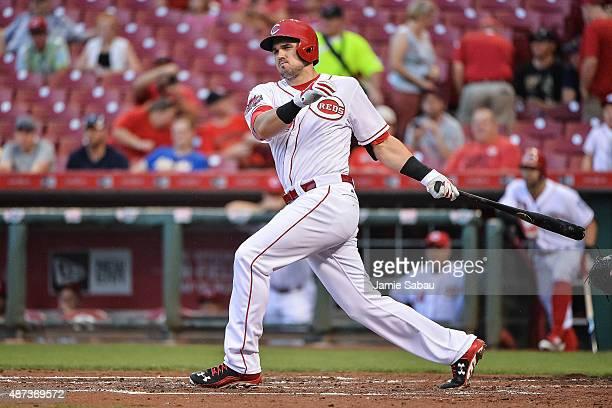 Adam Duvall of the Cincinnati Reds bats against the Milwaukee Brewers at Great American Ball Park on September 5 2015 in Cincinnati Ohio