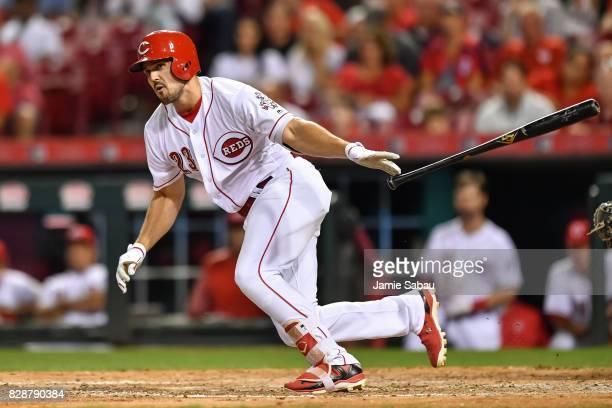 Adam Duvall of the Cincinnati Reds bats against the San Diego Padres at Great American Ball Park on August 8 2017 in Cincinnati Ohio