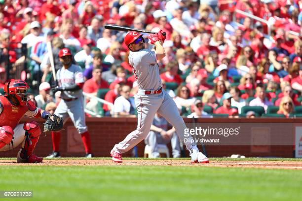 Adam Duvall of the Cincinnati Reds bats against the St Louis Cardinals at Busch Stadium on April 8 2017 in St Louis Missouri