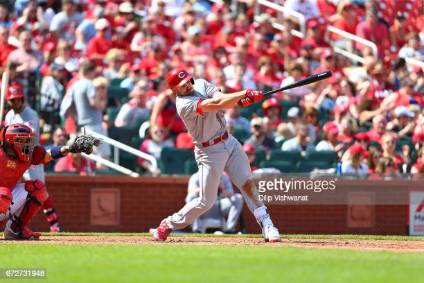 Adam Duvall of the Cincinnati Reds bats against the St Louis Cardinals at Busch Stadium on April 9 2017 in St Louis Missouri