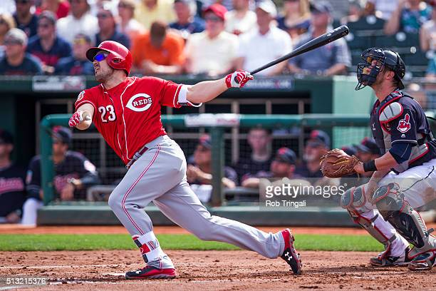 Adam Duvall of the Cincinnati Reds bats during a spring training game against the Cleveland Indians at Goodyear Ballpark on March 1 2016 in Goodyear...
