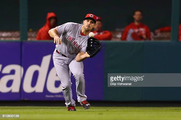 Adam Duvall of the Cincinnati Reds catches a line drive against the St Louis Cardinals in the third inning at Busch Stadium on September 27 2016 in...