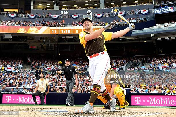 Adam Duvall of the Cincinnati Reds competes during the TMobile Home Run Derby at PETCO Park on July 11 2016 in San Diego California