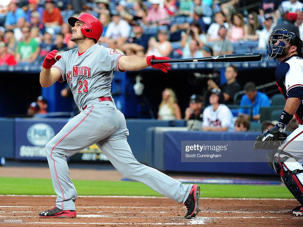 Adam Duvall of the Cincinnati Reds hits a first inning tworun home run against the Atlanta Braves at Turner Field on June 13 2016 in Atlanta Georgia