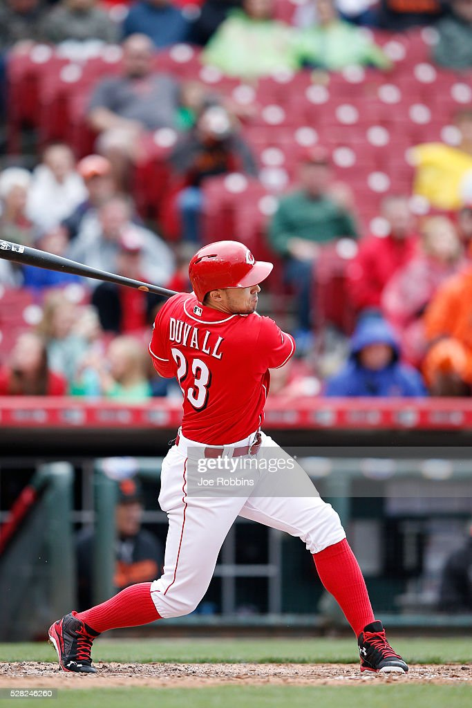 Adam Duvall #23 of the Cincinnati Reds hits a solo home run against the San Francisco Giants in the sixth inning of the game at Great American Ball Park on May 4, 2016 in Cincinnati, Ohio. The Reds defeated the Giants 7-4.