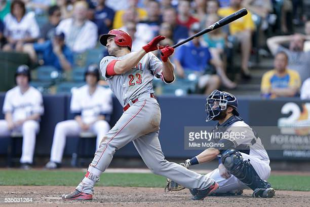 Adam Duvall of the Cincinnati Reds hits a three run homer in the seventh inning against the Milwaukee Brewers at Miller Park on May 28 2016 in...