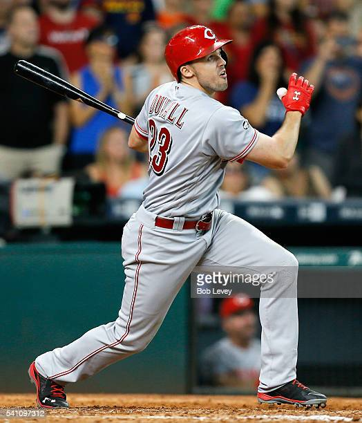 Adam Duvall of the Cincinnati Reds hits a tworun home run in the ninth inning against the Houston Astros to tie the game at Minute Maid Park on June...