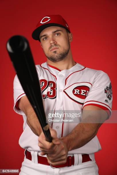 Adam Duvall of the Cincinnati Reds poses for a portait during a MLB photo day at Goodyear Ballpark on February 18 2017 in Goodyear Arizona