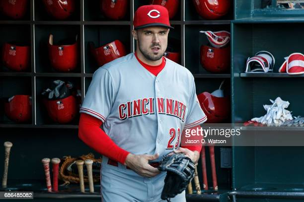 Adam Duvall of the Cincinnati Reds stands in the dugout before the game against the San Francisco Giants at ATT Park on May 12 2017 in San Francisco...