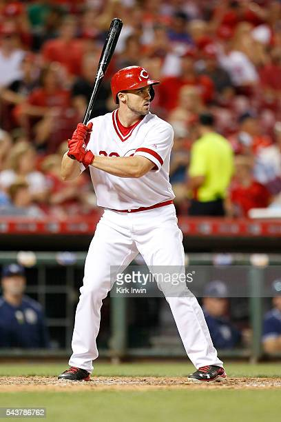 Adam Duvall of the Cincinnati Reds takes an at bat during the game against the San Diego Padres at Great American Ball Park on June 24 2016 in...