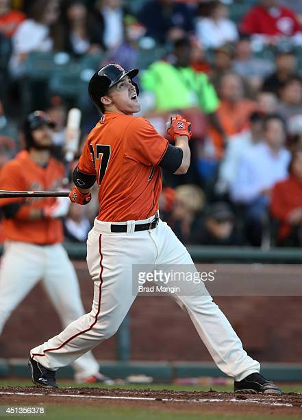 Adam Duvall of the San Francisco Giants bats against the Cincinnati Reds during the game at ATT Park on Friday June 27 2014 in San Francisco...