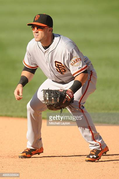 Adam Duvall of the San Francisco Giants in position during a baseball game against the Washington Nationals on August 24 2014 at Nationals Park in...