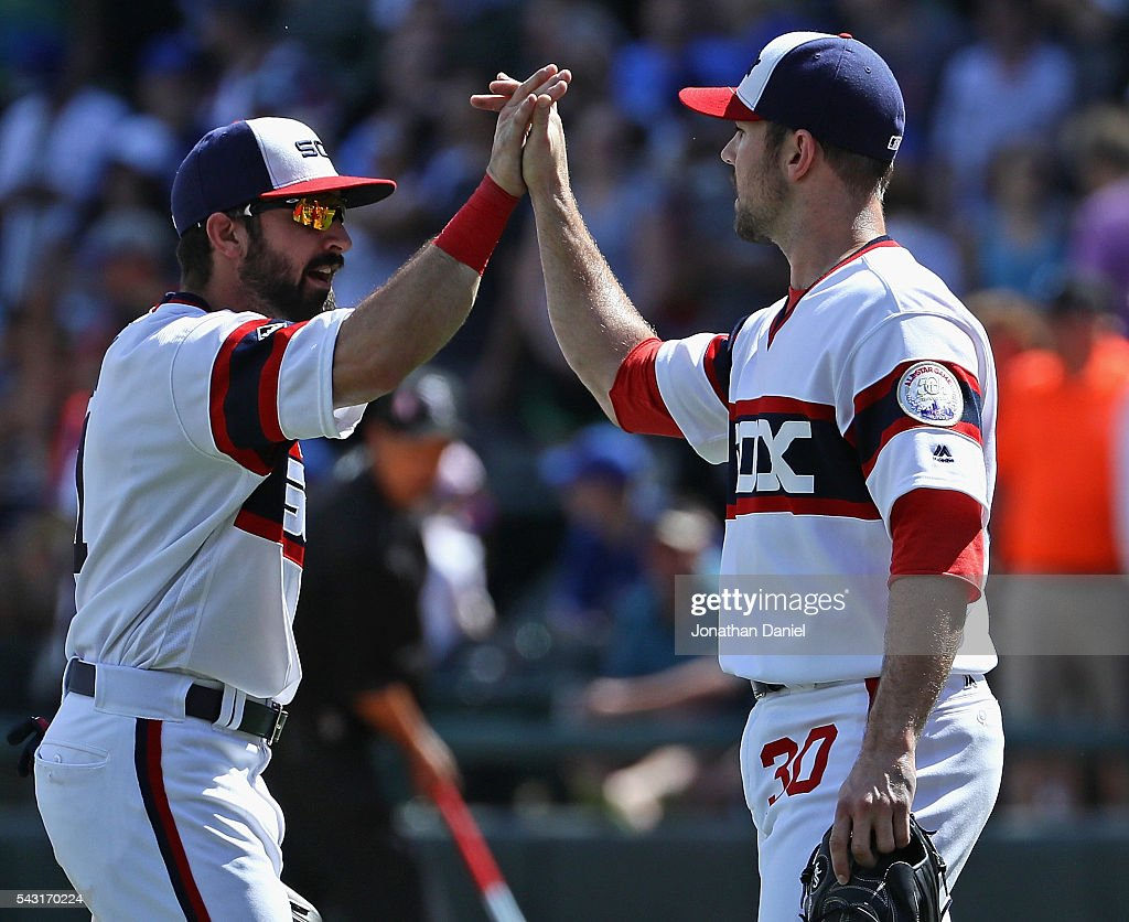 <a gi-track='captionPersonalityLinkClicked' href=/galleries/search?phrase=Adam+Eaton&family=editorial&specificpeople=210898 ng-click='$event.stopPropagation()'>Adam Eaton</a> #1 (L) and <a gi-track='captionPersonalityLinkClicked' href=/galleries/search?phrase=David+Robertson+-+Baseball+Player&family=editorial&specificpeople=6920297 ng-click='$event.stopPropagation()'>David Robertson</a> #30 of the Chicago White Sox celebrate a win over the Toronto Blue Jays at U.S. Cellular Field on June 26, 2016 in Chicago, Illinois. The White Sox defeated the Blue Jays 5-2.