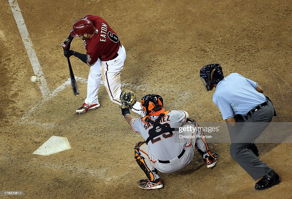 Adam Eaton #6 of the Arizona Diamondbacks hits a RBI single against the San Francisco Giants during the seventh inning of the MLB game at Chase Field on September 1, 2013 in Phoenix, Arizona. The Giants defeated the Diamondbacks 8-2.