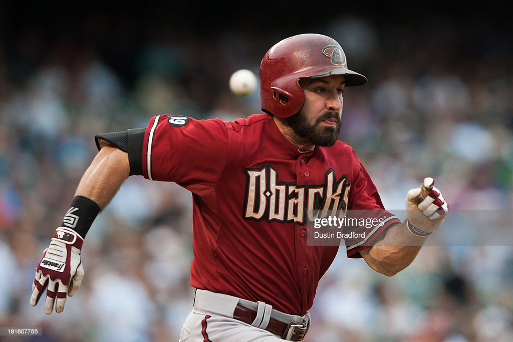 <a gi-track='captionPersonalityLinkClicked' href=/galleries/search?phrase=Adam+Eaton&family=editorial&specificpeople=210898 ng-click='$event.stopPropagation()'>Adam Eaton</a> #6 of the Arizona Diamondbacks hustles to first base but is thrown out in the sixth inning of a game against the Colorado Rockies at Coors Field on September 22, 2013 in Denver, Colorado.