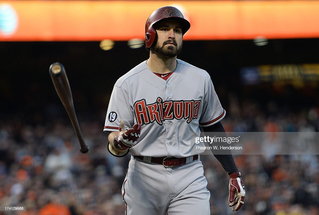 <a gi-track='captionPersonalityLinkClicked' href=/galleries/search?phrase=Adam+Eaton&family=editorial&specificpeople=210898 ng-click='$event.stopPropagation()'>Adam Eaton</a> #6 of the Arizona Diamondbacks tosses his bat after striking out for the third out with the bases loaded in the sixth inning against the San Francisco Giants at AT&T Park on July 20, 2013 in San Francisco, California.