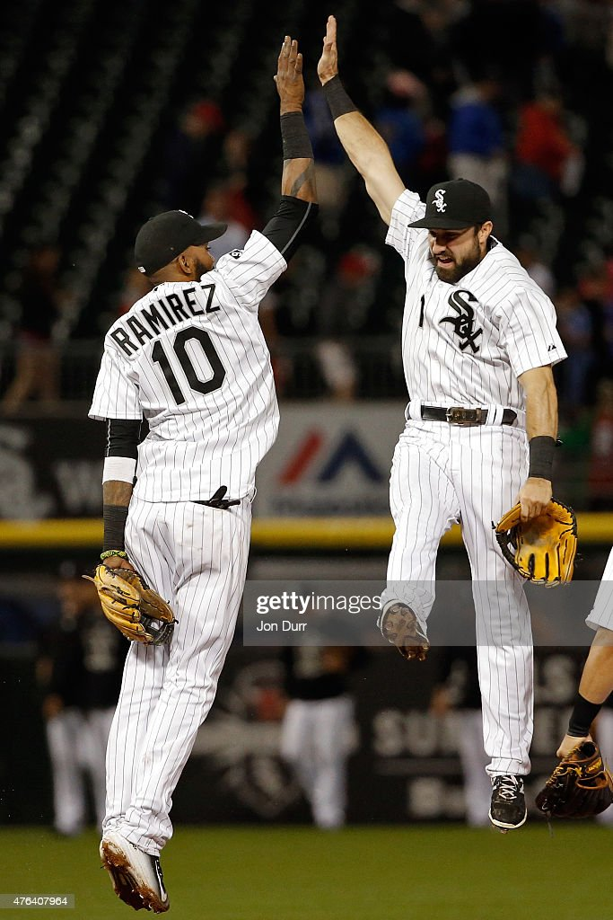 Adam Eaton #1 of the Chicago White Sox and Alexei Ramirez #10 celebrate a win against the Houston Astros on June 8, 2015 at U.S. Cellular Field in Chicago, Illinois. The Chicago White Sox won 3-1.