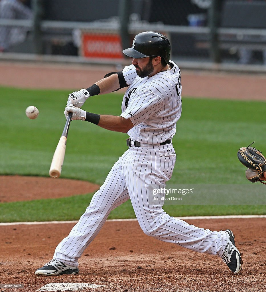 Adam Eaton #1 of the Chicago White Sox bats against the Minnesota Twins at U.S. Cellular Field on August 3, 2014 in Chicago, Illinois. The Twins defeated the White Sox 16-3.