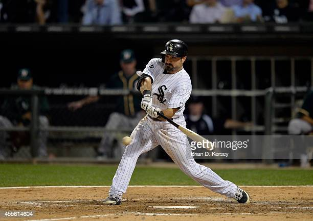 Adam Eaton of the Chicago White Sox bats during the seventh inning against the Oakland Athletics at US Cellular Field on September 8 2014 in Chicago...
