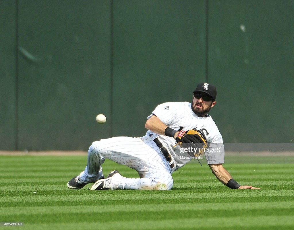 Adam Eaton #1 of the Chicago White Sox can't catch a two-RBI single by Marwin Gonzalez (not pictured) of the Houston Astros during the seventh inning on July 20, 2014 at U.S. Cellular Field in Chicago, Illinois.