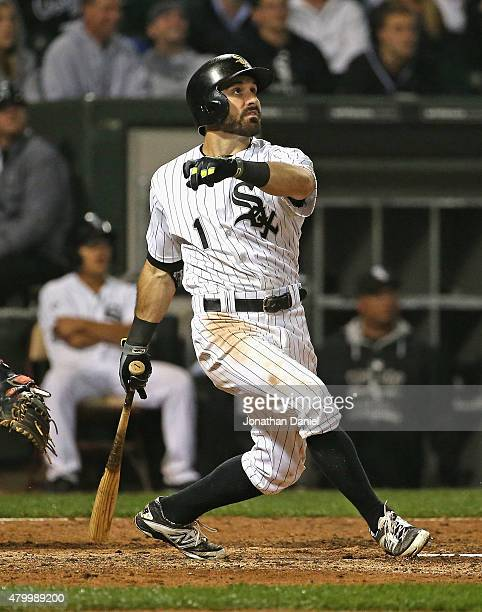 Adam Eaton of the Chicago White Sox hits a solo walkoff home run in the 11th inning to defeat the Toronto Blue Jays at US Cellular Field on July 8...