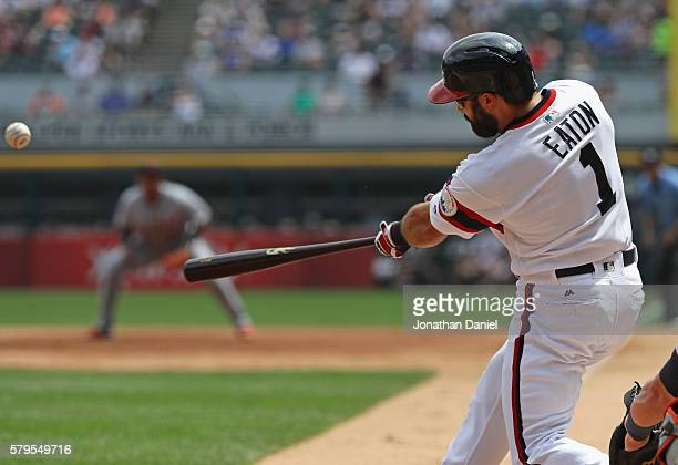 Adam Eaton of the Chicago White Sox hits a three run home run in the 2nd inning against the Detroit Tigers at US Cellular Field on July 24 2016 in...