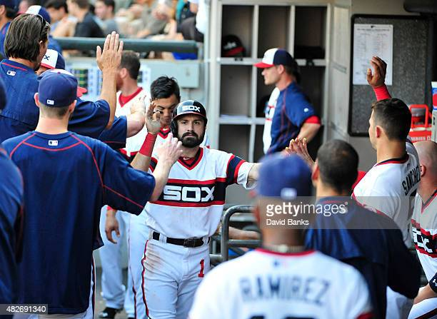 Adam Eaton of the Chicago White Sox is greeted by teammates after scoring against the New York Yankees during the first inning on August 1 2015 at US...