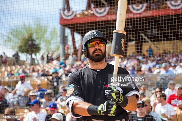 Adam Eaton of the Chicago White Sox looks on during a spring training game against the Los Angeles Dodgers at Camelback Ranch on March 3 2016 in...