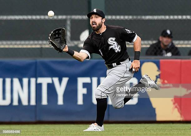 Adam Eaton of the Chicago White Sox makes a catch in center field of the ball hit by Jorge Polanco of the Minnesota Twins during the second inning of...