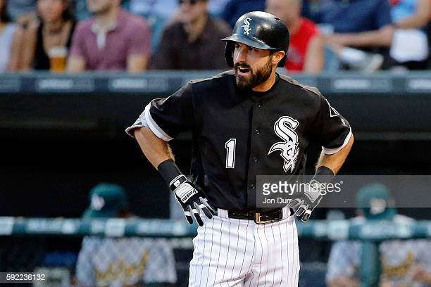 Adam Eaton of the Chicago White Sox reacts after striking out to Kendall Graveman of the Oakland Athletics during the first inning at US Cellular...