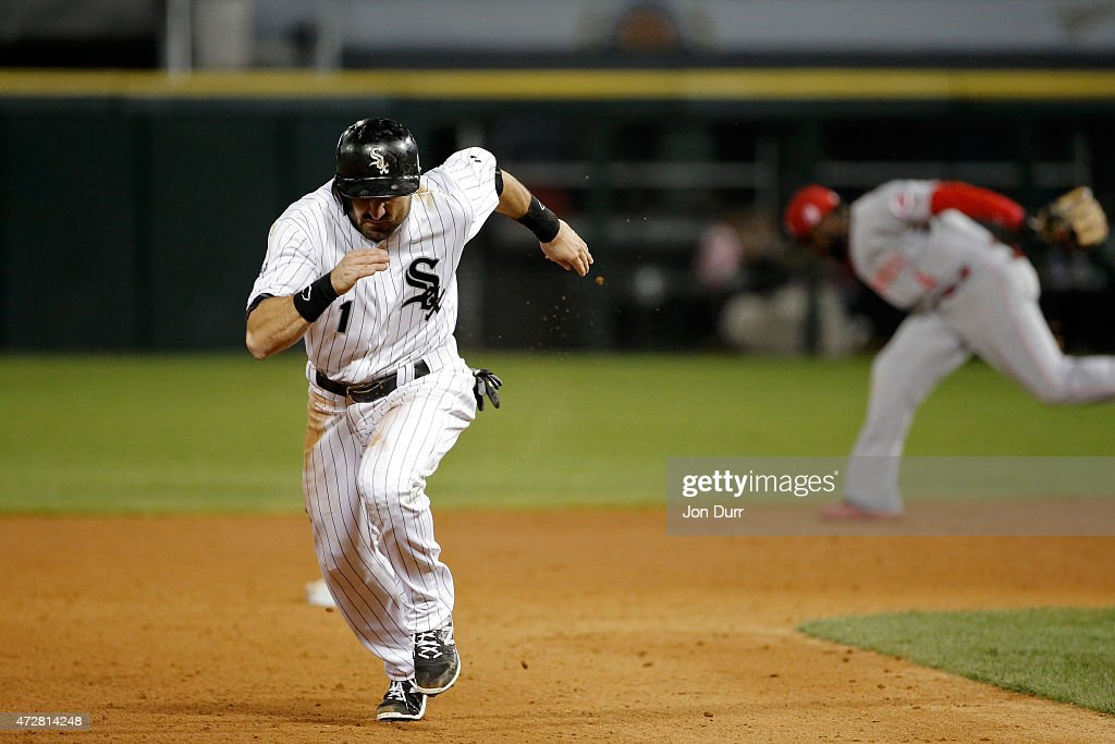 Adam Eaton #1 of the Chicago White Sox runs to third base during the seventh inning against the Cincinnati Reds in the second game of a doubleheader on May 9, 2015 at U.S. Cellular Field in Chicago, Illinois. The Chicago White Sox won 8-2.