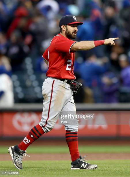 Adam Eaton of the Washington Nationals celebrates the win over the New York Mets on April 22 2017 at Citi Field in the Flushing neighborhood of the...