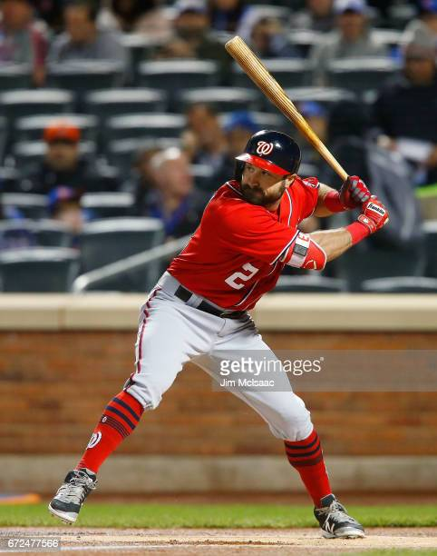 Adam Eaton of the Washington Nationals in action against the New York Mets at Citi Field on April 23 2017 in the Flushing neighborhood of the Queens...