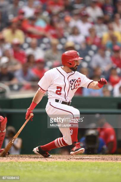 Adam Eaton of the Washington Nationals takes a swing during the game against the Philadelphia Phillies at Nationals Park on April 16 2017 in...