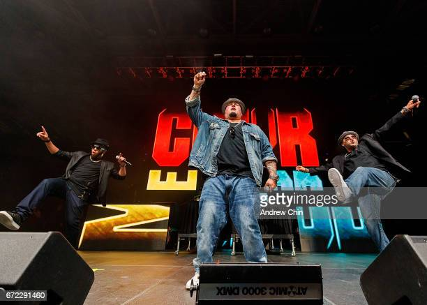 Adam Emil Bryan Abrams and Mark Calderon of RB group Color Me Badd perform on stage during the 'I Love The 90's Tour' at Abbotsford Centre on April...