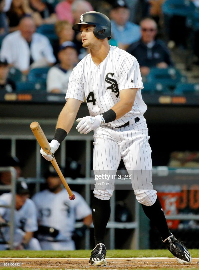 Adam Engel #41 of the Chicago White Sox reacts after striking out against the Cleveland Indians during the third inning at Guaranteed Rate Field on July 28, 2017 in Chicago, Illinois.