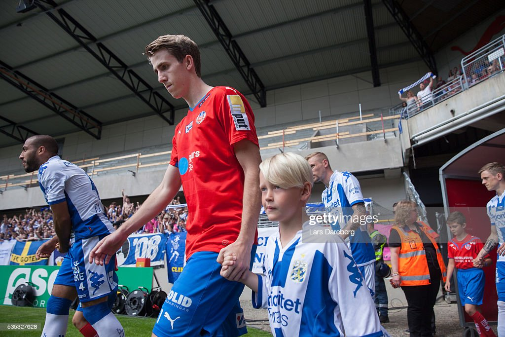 Adam Eriksson of Helsingborgs IF during the Allsvenskan match between Helsingborgs IF and IFK Goteborg at Olympia on May 29, 2016 in Helsingborg, Sweden.