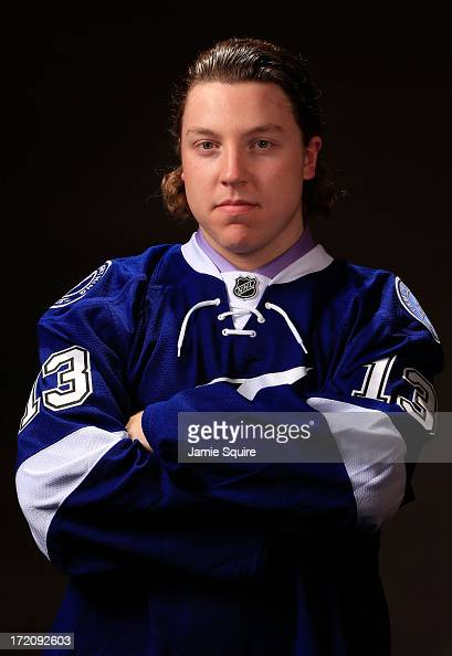 Adam Erne 33rd overall pick by the Tampa Bay Lightning poses for a portrait during the 2013 NHL Draft at the Prudential Center on June 30 2013 in...