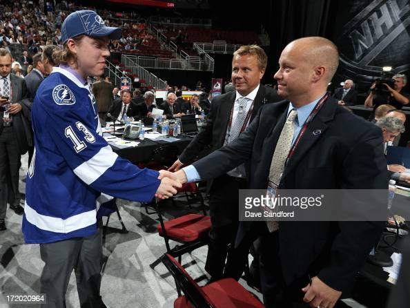Adam Erne greets the team after being selected 33rd overall by the Tampa Bay Lightning during the 2013 NHL Draft at Prudential Center on June 30 2013...