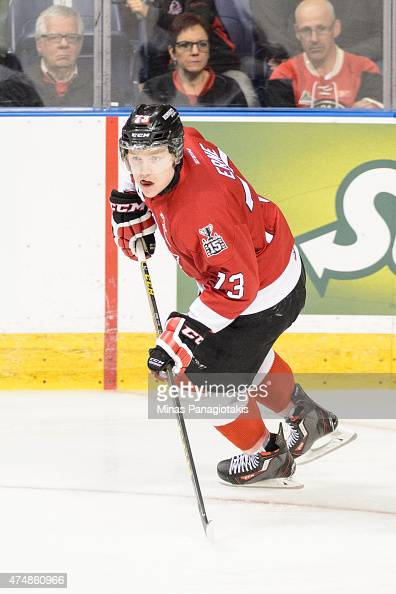 Adam Erne of the Quebec Remparts skates in Game One during the 2015 Memorial Cup against the Kelowna Rockets at the Pepsi Coliseum on May 22 2015 in...