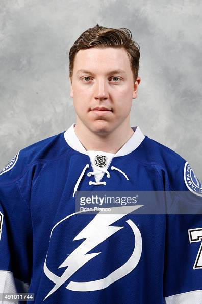 Adam Erne of the Tampa Bay Lightning poses for his official headshot for the 20152016 season on September 17 2015 at Amalie Arena in Tampa Florida