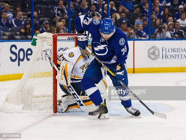 Adam Erne of the Tampa Bay Lightning skates against the Nashville Predators at Amalie Arena on January 5 2017 in Tampa Florida
