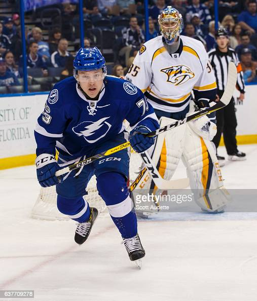 Adam Erne of the Tampa Bay Lightning skates against the Nashville Predators at Amalie Arena on January 5 2017 in Tampa Florida 'n