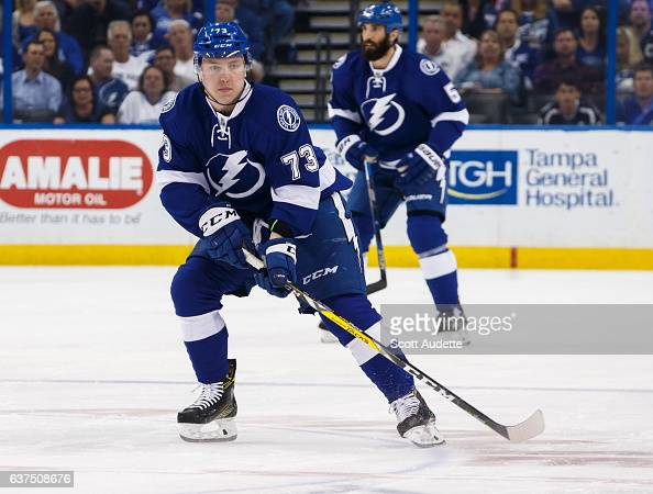 Adam Erne of the Tampa Bay Lightning skates against the Winnipeg Jets during first period at Amalie Arena on January 3 2017 in Tampa Florida 'n