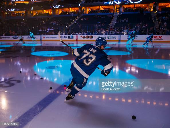 Adam Erne of the Tampa Bay Lightning skates onto the ice for pregame warmups against the Nashville Predators at Amalie Arena on January 5 2017 in...