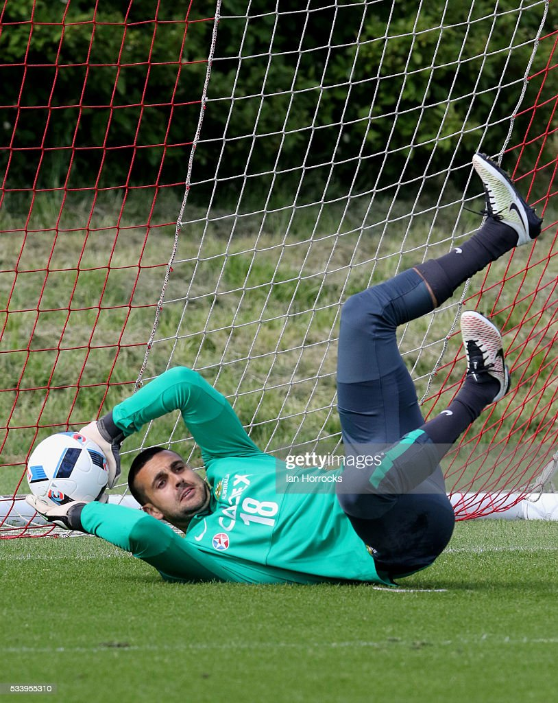 Adam Federici during a Australia National football team training session at The Academy of Light on May 24, 2016 in Sunderland, England.