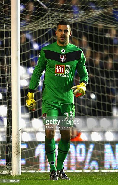 Adam Federici of AFC Bournemouth in action duiring the Emitates FA cup 3rd round at St Andrews on January 9 2016 in Birmingham England