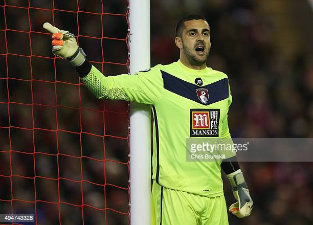 Adam Federici of Bournemouth gives instructions during the Capital One Cup Fourth Round match between Liverpool and AFC Bournemouth at Anfield on...