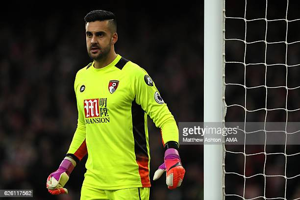 Adam Federici of Bournemouth looks on during the Premier League match between Arsenal and AFC Bournemouth at Emirates Stadium on November 27 2016 in...