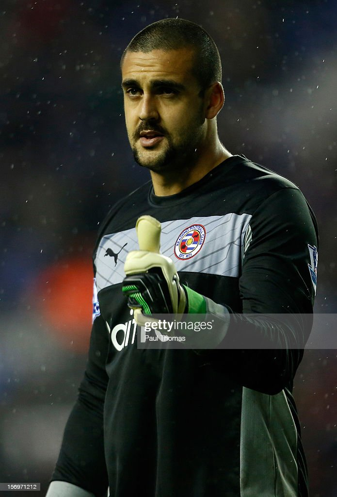Adam Federici of Reading gestures during the Barclays Premier League match between Wigan Athletic and Reading at the DW Stadium on November 24, 2012 in Wigan, England.